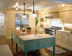 I am thinking about painting my kitchen island a color like this (not the doors just the wall part)