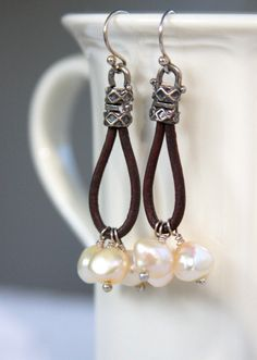 Earrings sterling silver brown leather cord by HollyMackDesigns, $39.00