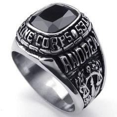 KONOV Schmuck Biker Herren-Ring, Edelstahl Zirkonia Diamant, USMC Siegelring, Schwarz Silber - Gr. 62