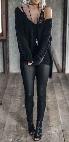 We dig this all black look! #Grunge #Rock #Fashion #Sweaters
