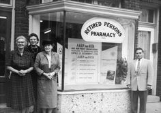 AARP Founder, Ethel Percy Andrus attends the grand opening of the AARP/NRTA office and pharmacy in St. Petersburg in 1960. AARP and the NRTA used members' collective purchasing power to buy prescription drugs in bulk and sell them at a discount.