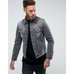 Nudie Jeans Co Billy Denim Jacket Shimmering Shist (14.905 RUB) ❤ liked on Polyvore featuring men's fashion, men's clothing, men's outerwear, men's jackets, grey, mens grey jacket, mens tall jackets, mens tall outerwear, mens tall denim jacket and mens gray leather jacket