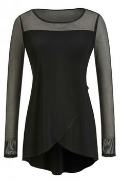 "Long sleeve black tunic with sheer sleeves and a sheer yoke in the front and back. Two overlapping scalloped panels. Back is longer with a rounded hemline.     Measures: 24"" L front; 29"" L sides    Sheer Yoke Sleeves Tunic by Joseph Ribkoff. Clothing - Tops - Tunics Clothing - Tops - Long Sleeve Texas"