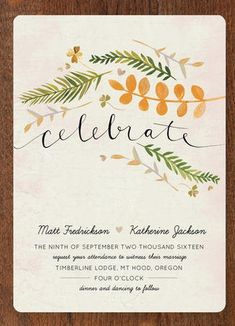 Gorgeous Watercolor Wedding Invitations  //  Lovely leaf  Wedding Invitations. With loads of rustic charm these invitations with hand lettering and illustrated leaves, inspired by the Pacific Northwest, are a fab pick for a fall wedding.