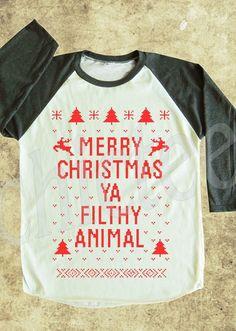 Merry Christmas Ya Filthy Animal Tshirt Home Alone LOVE
