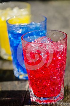 Red blue and yellow cocktails