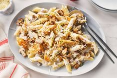 Chicken mushroom pasta recipe cook with campbells canada. Penne Recipes, Easy Chicken Recipes, Cooking Recipes, Chicken Stroganoff, Stroganoff Recipe, Weight Loss Meals, Creamed Mushrooms, Stuffed Mushrooms, Chicken Mushroom Pasta
