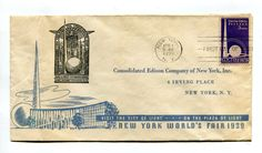 Vintage FDC 1939 NYWF New York Worlds Fair CONSOLIDATED EDISON CITY OF LIGHT in Collectibles, Historical Memorabilia, Fairs, Parks & Architecture | eBay