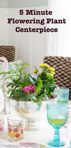 how to make a flowering plant centerpiece in 5 minutes using a fabulous silver bowl from HomeGoods (sponsored)
