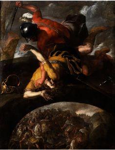 SCHLACHT DER ALTEN HEERE MIT ZWEI AUF EINER BRÜCKE KÄMPFENDEN SOLDATEN Öl auf Leinwand. 212 x 167 cm. Unser beeindruckendes Gemälde zeigt ein besonderes...