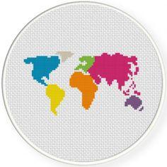 World Map Cross Stitch Illustration