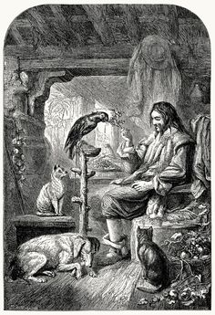 Crusoe's family.  T. H. Nicholson, from The adventures of Robinson Crusoe, by Daniel Defoe, London, 1862.  (Source: archive.org)