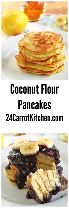 Click the photo to get the recipe for these tasty Coconut Flour Pancakes with Blueberry Sauce - fluffy, delicious grain free, gluten free, dairy free! |grain free, gluten free, dairy free, paleo, coconut flour, pancakes, breakfast|