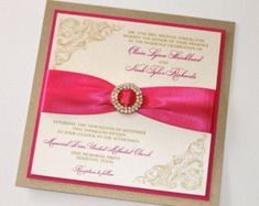 Elegant Wedding Invitation - Vintage Wedding Invitation - Luxury Wedding Invitation - Hot Pink, Ivory, Gold - Olivia Sample #weddinginvitationsvintage #weddinginvitationsvintageelegant