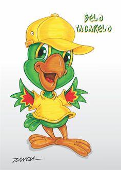 """Ilustração e Arte do papagaio Belo Tagarelo, técnica com caneta hidrocor e fundo digital""""Corel"""" - ano de 2002 - Projeto Gráfico para tiras de jornal."""