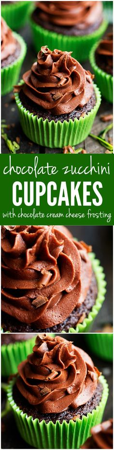 Chocolate Zucchini Cupcakes with Chocolate Cream Cheese Frosting - Perfectly moist and have the BEST chocolate cream cheese frosting! You won't even be able to tell there is 2 cups of zucchini hidden inside!!
