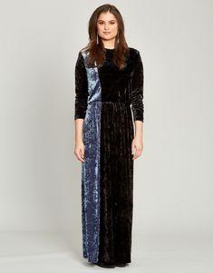 c5ab0cbb61 Crushed Velvet Colorblock Elastic Waist Maxi Dress
