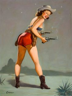 """Cowgirl Pinups - Overall size 11"""" x 14""""--Giclee Glossy Prints-Free Shipping USA by SILVESTROMEDIA, $19.99"""