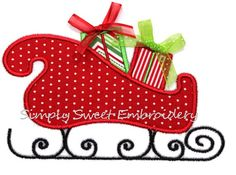 Santa's Sleigh Machine Embroidery Applique por SimplySweetEmbroider, $4.00