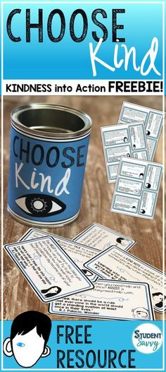 "Have your students CHOOSE KIND! Promote kindness in your classroom by using a ""Choose Kind"" Jar! 20 unique take action cards - each card also has a book quote from R.J. Palacio's Wonder!"