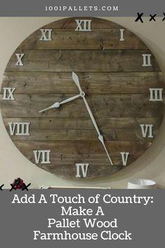 Make This Budget-friendly 40″ Pallet Farmhouse Clock