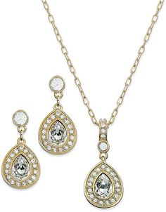 Swarovski Jewelry Set, 22k Gold-Plated Crystal Pendant Necklace and Drop Earrings