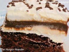 Brownie Fudge Lasagna - Brownies, pudding, cream cheese and whipped topping. You can not go wrong with this chocolate lover's dessert. With all the holidays coming up you can just top this brownie lasagna with appropriate festive sprinkles and bring it to your next potluck.