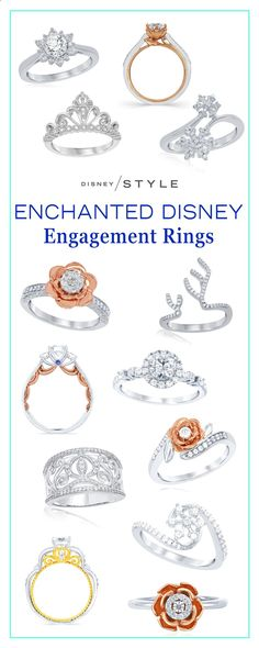 The new Enchanted Disney engagement rings are truly magical! | Disney Weddings diamond rings with gold   rose gold accents inspired by Cinderella, Belle, and Elsa. | [ di.sn/60028DmZs ] #disneyjewelry