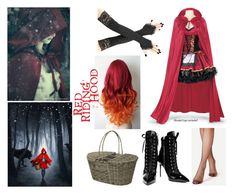 """""""Little Red Riding Hood Halloween Costume!"""" by moonstarproductionss ❤ liked on Polyvore featuring Giuseppe Zanotti and Parlane"""