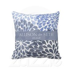 Chrysanthemum (Stonewash Blue) Wedding Shower Gift Throw Pillow from Zazzle.com