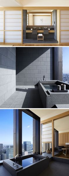 The bathrooms in this Japanese hotel follow the design of traditional Japanese baths, with charcoal-coloured basalt stone tiles which draw the eye across the room to the private onsen with floor-to-ceiling windows and views to the private gardens.