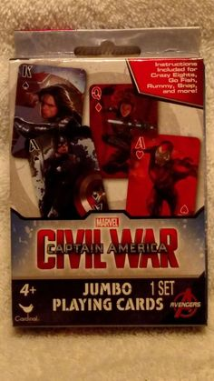 1 set of marvel civil war captain america jumbo playing cards new #Jumbo