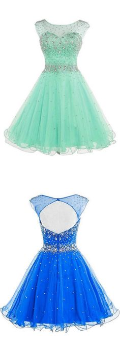 Mint Short Tulle Beading Homecoming Dress Graduation Gown