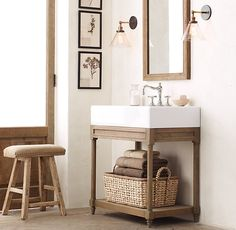 RHu0027s Weathered Oak Single Console Washstand:Rustic Yet Refined, Our Console  Sink Is Crafted Of Solid Oak With A Drifted Oak Finish.