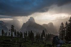 Yosemite Storm Print, National Park, Large Canvas, Moody Half Dome, Dramatic California Sunrise, Glacier Point Print, Sierra Nevada Art by SusanTaylorPhoto on Etsy