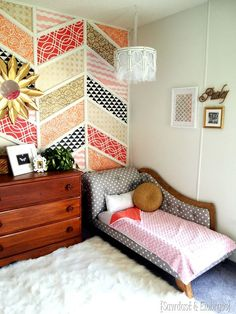 ADORABLE little girls room with stenciled patchwork Herringbone Accent Wall, DIY Fainting Couch toddler beds, and more! {Sawdust and Embryos}