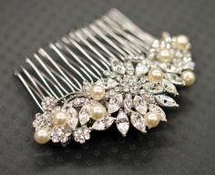 Swarovski Pearled Bridal or flower girl rhinestone hair comb - rhinestone adorned hair comb - made to order. $39.50, via Etsy.