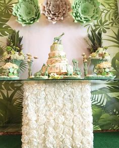 This Green Jungle Baby Shower is fantastic! The dessert table and backdrop are amazing!! See more party ideas and share yours at CatchMyParty.com| CatchMyParty.com