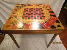 Extremely RARE Vintage Fold-Up Wooden Card/Poker Roulette Table Original Unique