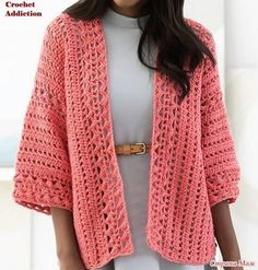 Only Free crochet and knitting patterns has members. Place to share ONLY free crochet and knitting patterns, post your finds from pintrest,. Crochet Coat, Crochet Cardigan Pattern, Crochet Jacket, Crochet Blouse, Crochet Clothes, Crochet Patterns, Crochet Sweaters, Cardigan Rosa, Coral Cardigan