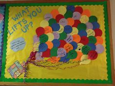 "The design idea is taken from Disney Pixar's movie ""Up"".  This is just another way to remind residents of all the wonderful aspects of their lives and to connect to others on the floor. disney classroom ideas, balloons bulletin board, disney teacher ideas, bulletin board designs, disney bulletin boards, balloon bulletin board, disney up bulletin board, bulletin boards disney, disney bulletin board ideas"