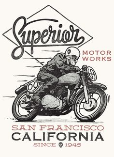 Vintage Motorcycles Superior Motorworks by Damian King, via Behance Motorcycle Posters, Motorcycle Art, Motorcycle Design, Bike Art, Motorcycle Types, Women Motorcycle, Vintage Ads, Vintage Signs, Blitz Motorcycles