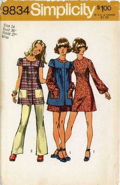 I made a couple of these smock tops in high school as well. Simplicity 9834 Womens / Teens Boho Mini Dress Smock & Pants Vintage Sewing Pattern Size 11 JP or Size 10 Estilo Fashion, 70s Fashion, Vintage Fashion, Cheap Fashion, Fashion Women, Vintage Dress Patterns, Clothing Patterns, Petite Mini Dresses, Vintage Outfits
