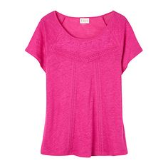 Buy East Linen Lace Detail T-Shirt, Magenta Online at johnlewis.com