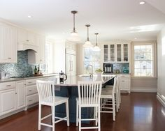 Kitchen Design, Alluring Blue And White Kitchen Concept Also Cadet Blue Kitchen Island Color With Light Gray Marble Countertop Also Classic White Pendant Lights Also Comely Laminate Floor And Mosaic Blue Wall Accent: Enchanting Blue and White Kitchen Decorations