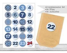 "www.papierbuedchen.de - DIY Adventskalender \"" Tüten & Aufkleber \"" (K10)"