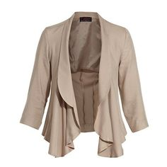 Mink Brown Waterfall Blazer ❤ liked on Polyvore