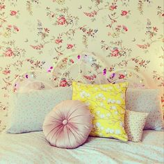 Beautiful bedding with our Magnolia Yellow cushion.  Styling and photography MessyLa.com