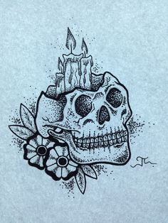 Flower skull and cadles Dot and line design