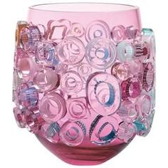 Blown Glass Pink Vessel. Murano Glass Style Pink Centrepiece Bowl